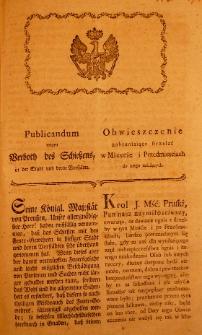 Publicandum wegen Verboth des Schiessens in der Stadt und deren Vorstädte. 1793.08.03