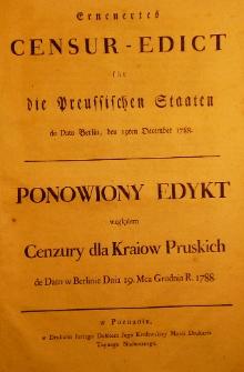Erneuertes Censur-Edict für die Preusischen Staaten de dato Berlin, den 19ten December 1788