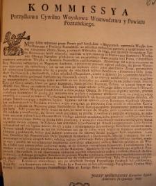 Kommissya porządkowa cywilno wojskowa woiewództwa y powiatu poznańskiego