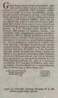 Duszy ś. p. Franciszka Czackiego Strażnika W. K. Modlitwom powszechnym zalecenie
