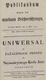 Publikandum wegen der immediaten Beschwerführungen. De dato Berlin, den 21. May 1799
