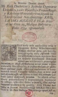 [Postanowienie sejmiku średzkiego z 23 sierpnia 1734]