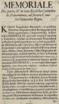 Memoriale Pro Parte, [et] in rem Ecclesiae Cathedralis Posnaniensis, ad futura Comitia Generalia Regni