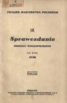 Sprawozdanie Oddziału Wielkopolskiego za rok 1930
