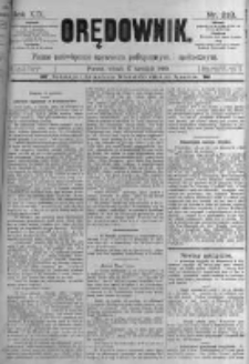 Orędownik: pismo poświęcone sprawom politycznym i spółecznym. 1889.09.17 R.19 nr213