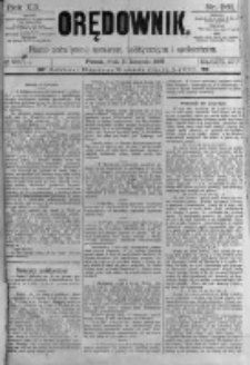 Orędownik: pismo poświęcone sprawom politycznym i spółecznym. 1889.11.13 R.19 nr261