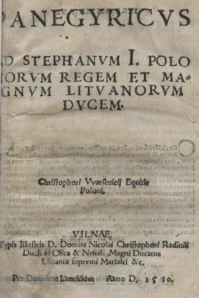 Panegyricvs ad Stephanvm I Polonorvm Regem et Magnvm Litvanorvm Ducem
