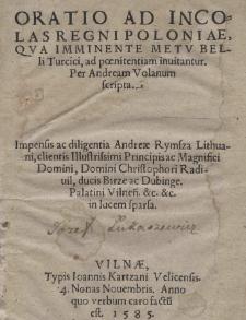 Oratio ad incolas Regni Poloniae, qva imminente metv belli Turcici, ad poenitentiam inuitantur