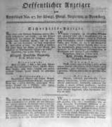Oeffentlicher Anzeiger zum Amtsblatt No.17. der Königl. Preuss. Regierung zu Bromberg. 1817