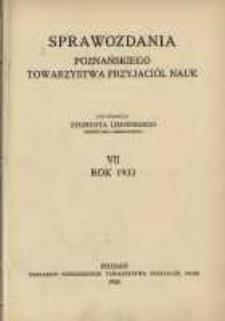 Sprawozdania Poznańskiego Towarzystwa Przyjaciół Nauk. 1933 R.7