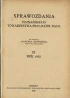 Sprawozdania Poznańskiego Towarzystwa Przyjaciół Nauk. 1935 R.9