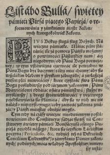 List abo bulla swiętey pamięci Piusa piątego papieża o reformowaniu y zamknieniu siostr zakonnych któregokolwiek zakonu 246