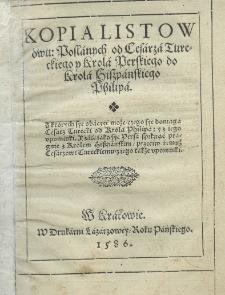 Kopia listów dwu posłanych od cesarza tureckiego i króla perskiego do króla hiszpańskiego Filipa