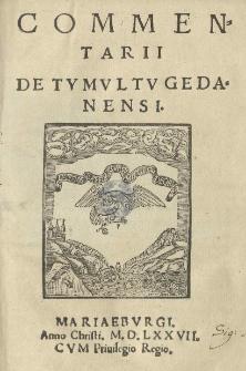 Commentarii de tumultu Gedanensi