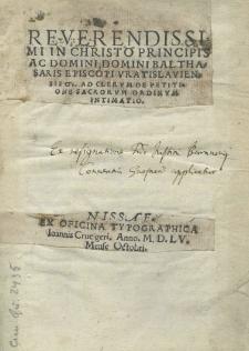 Reverendissimi in Christo principis ac Domini, Domini Balthasaris episcopi Vratislaviensis Ad clerum de petitione sacrorum ordinum intimatio
