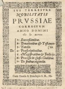 Ivs Terrestre nobilitatis Prvssiae correctum anno domini 1598