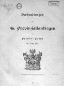 Verhandlungen des 46 Provinziallandtages der Provinz Posen im März 1915