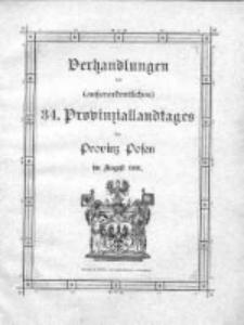 Verhandlungen (ausserordenlichen) 34 Provinziallandtages der Provinz Posen in August 1901
