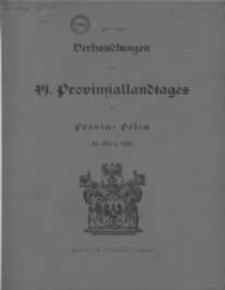 Verhandlungen des 49 Provinziallandtages der Provinz Posen im März 1918