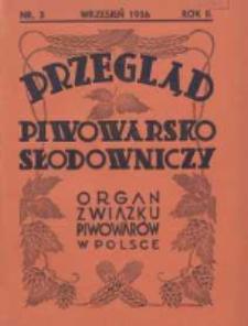Przegląd Piwowarsko-Słodowniczy: organ Związku Piwowarów w Polsce 1936 wrzesień R.2 Nr3