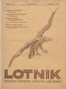 Lotnik: ilustrowany miesięcznik poświęcony lotnictwu i jego technice: organ Wielkopolskiego Klubu Lotników 1931.01 R.8 Nr1(130)