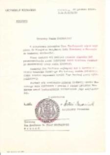 List abpa Antoniego Baraniaka do Józefa Kostrzewskiego