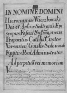 Approbatio Summaru(m) in Pokrzywnica Haerentiu(m) in Consistorio Posnaniensi