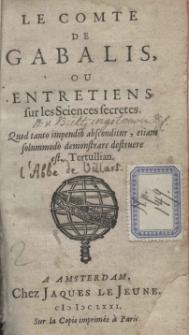 Le comte de Gabalis, ou entretiens sur les Sciences secretes