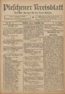 Pleschener Kreisblatt: Amtlicher Anzeiger für den Kreis Pleschen 1906.09.08 Jg.54 Nr72