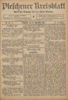 Pleschener Kreisblatt: Amtlicher Anzeiger für den Kreis Pleschen 1906.09.15 Jg.54 Nr74