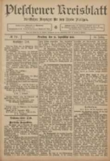 Pleschener Kreisblatt: Amtlicher Anzeiger für den Kreis Pleschen 1906.09.26 Jg.54 Nr77