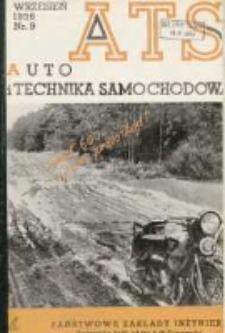 ATS Auto i Technika Samochodowa: organ Automobilklubu Polski oraz Klubów Afiliowanych: organe officiel de l'AutomobilKlub Polski et des clubs affiliés 1936 wrzesień R.15 Nr9