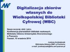 Digitalizacja zbiorów własnych do Wielkopolskiej Biblioteki Cyfrowej (WBC)