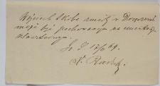 Zezwolenie na pochówek Wojciecha Skiby na cmentarzu klasztornym z 17.II.1869