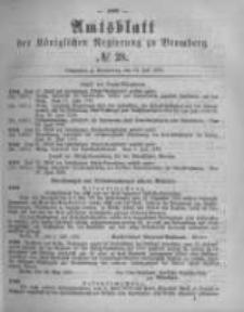 Amtsblatt der Königlichen Preussischen Regierung zu Bromberg. 1878.07.12 No.28