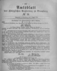 Amtsblatt der Königlichen Preussischen Regierung zu Bromberg. 1878.08.02 No.31