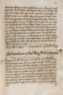 Ad easdem a Sacra Regia Mtte [Sigismundo III] respons [Gabrieli Bethlen], Warszawa 06.03.1614