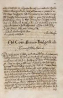 Od commissarzow Bydgoskich [do króla Zygmunta III] [Bydgoszcz 19.03.1614]