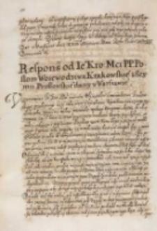 Respons od [...] Zygmunta III [...] posłom woiewodztwa krakowskiego z seymu prossowskiego dany w Warszawie [1614]