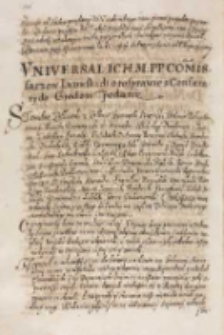 Vniuersał [...] commissarzow lwowskich o rosprawie z confae [de] raty do grodow podany, Lwów 27.04.1614