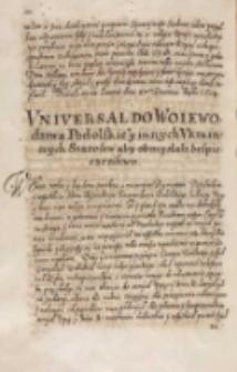 Vniuersał do woiewodztwa podolskiego y innych vkrainnych starost, aby obmyślali bespieczenstwo, Dan w Warszawie [1614]
