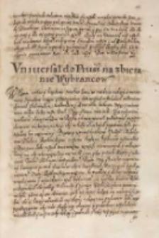 Vniuersał do Pruss na zbieranie wybrancow, Warszawa [1614]