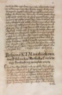 Respons KJM [Zygmunta III] na dziękowanie [...] [Zbigniewa] Silnickiego marszałka confaeratiey Smolenskiey za zapłatę wziętą [1614]