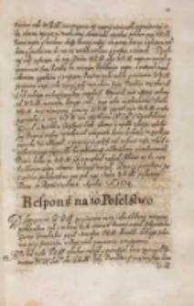 Respons na to poselstwo [Zygmunta III 1614]