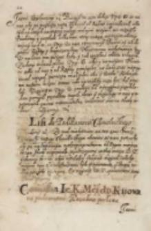 Comissia Ie[go] K[rólewskiej] M[oś]ci do Kiiowa na poskromienia Kozakow posłana, Dan w Warszawie 15.03.1614