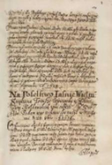 Na poselstwo [...] Stefana Tomsze woiewody y hospodara ziem mołdawskich taki okaz JKM [Zygmunta III] posłom iego rozkazał dać raczył, Warszawa 23.10.1614