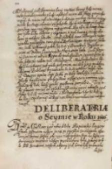 Deliberatoriae o seymie w roku 1616, Warszawa 15.12.1615