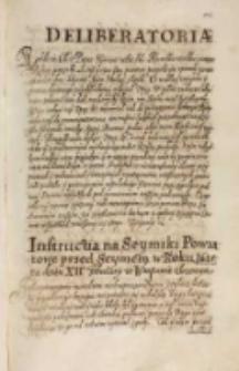 Instructia na seymiki powiatowe przed seymem w roku 1615 na dzień XII February w Warszawie złożonym [Warszawa 18.11.1614]