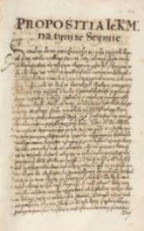 Propositia [...] Zygmunta III] na tym ze seymie [12.02.1615]