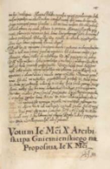 Votum [...] arcibiskupa gnieznienskiego [Wojciecha Baranowskiego] na propositią JKMci [Zygmunta III] [1615]